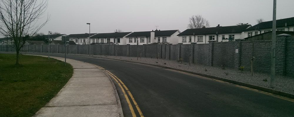 Extensive boundary wall replacement at St. Lukes Hospital Kilkenny by the team Eugene Foley Construction Limited.
