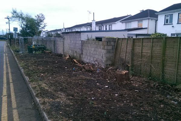 The run down state of an existing boundary wall prior to work commencing by the team at Eugene Foley Construction.