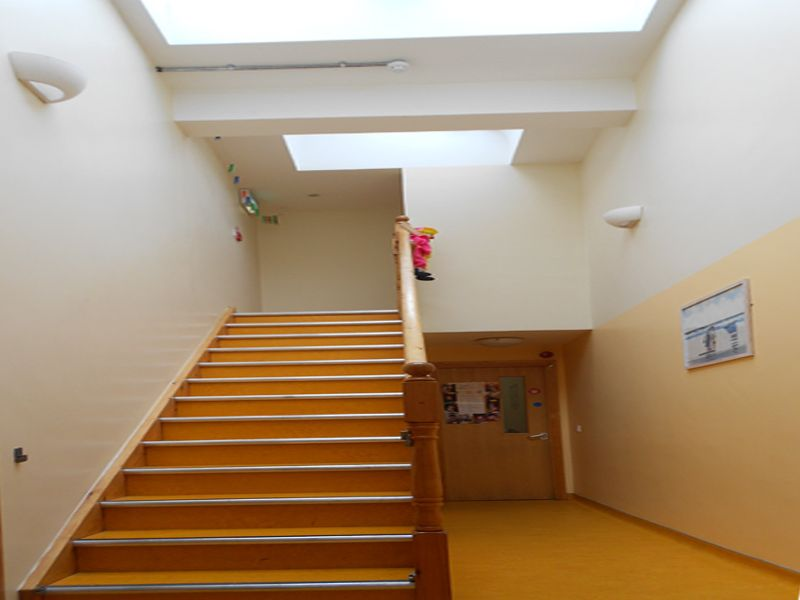 Double height, spacious light filled main hallway within a new house to crèche refurbishment. Work carried out by Eugene Foley Construction Limited.