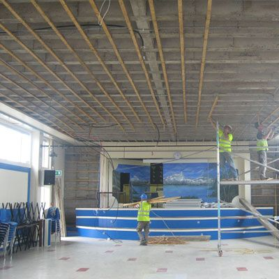 County Carlow school hall having it's internal roof finishing replaced as part of a fire system upgrade by Eugene Foley Construction Limited