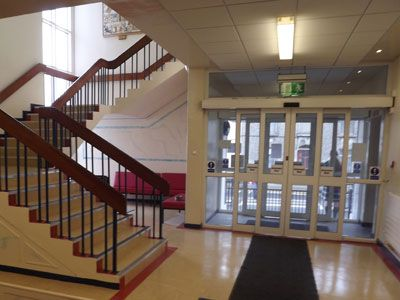 School main entrance with waiting area and meeting all fire requirements after an upgrade by Eugene Foley Construction Limited