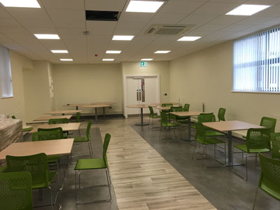 New canteen area at the finishing touches stage by Eugene Foley Construction Limited.