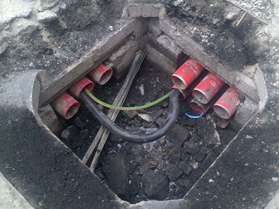 New draw/access pit in the process of being fitted, showing a 90 degree junction, by Eugene Foley Construction Limited.